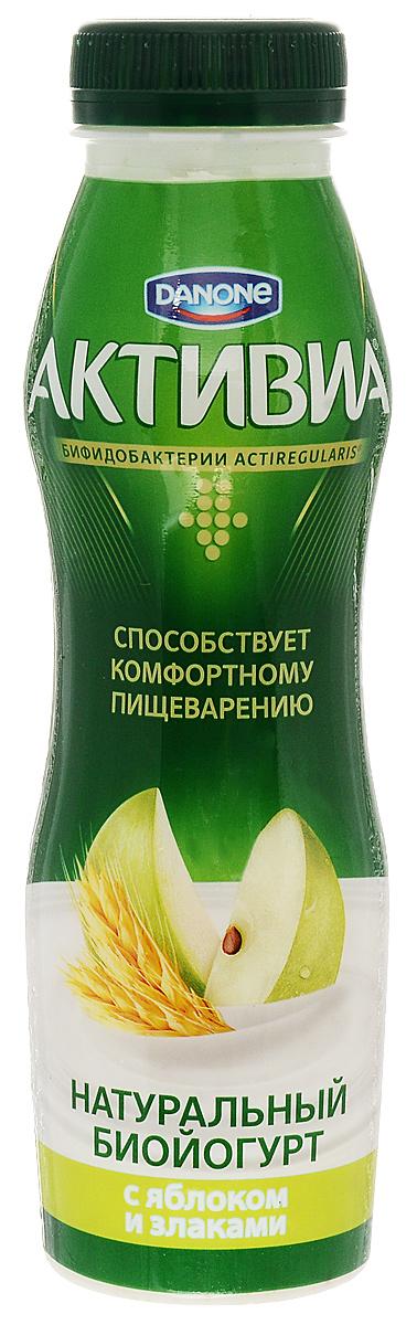Активиа Биойогурт питьевой Яблоко злаки 2,2%, 290 г активиа биойогурт густой чернослив 2 9