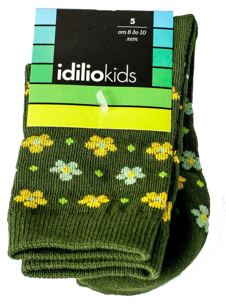Носки для девочки Idilio, цвет: темно-зеленый. SG08. Размер 27/29SG08Комфортные носки для девочек с добавлением экологически чистого хлопка, изготовленные без применения химических красителей.
