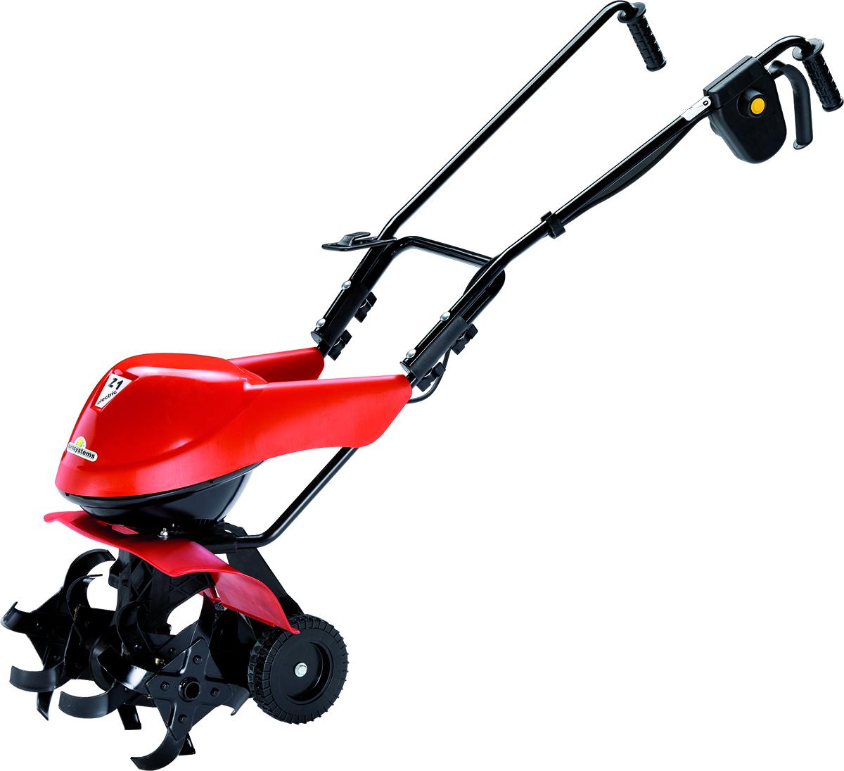 """Электрокультиватор Eurosystems """"Z-1 El"""" легкий и комфортабельный,можно подключить его  к бытовой розетке. Модель эффективна для  эксплуатации на маленьком придомовом участке.   Характеристики:   - Тип двигателя: электрический   - Ширина обработки почвы: 340 мм;   - Глубина обработки почвы: 200 мм;   - Вес 15 кг;   - Тип ручки: съёмная;  - Мощность: 900 Вт;   - Напряжение 230 В;   - Скорость вращения фрез: 140 об/мин;   - Диаметр колес: 150 мм;   - Диаметр фрез: 250 мм."""