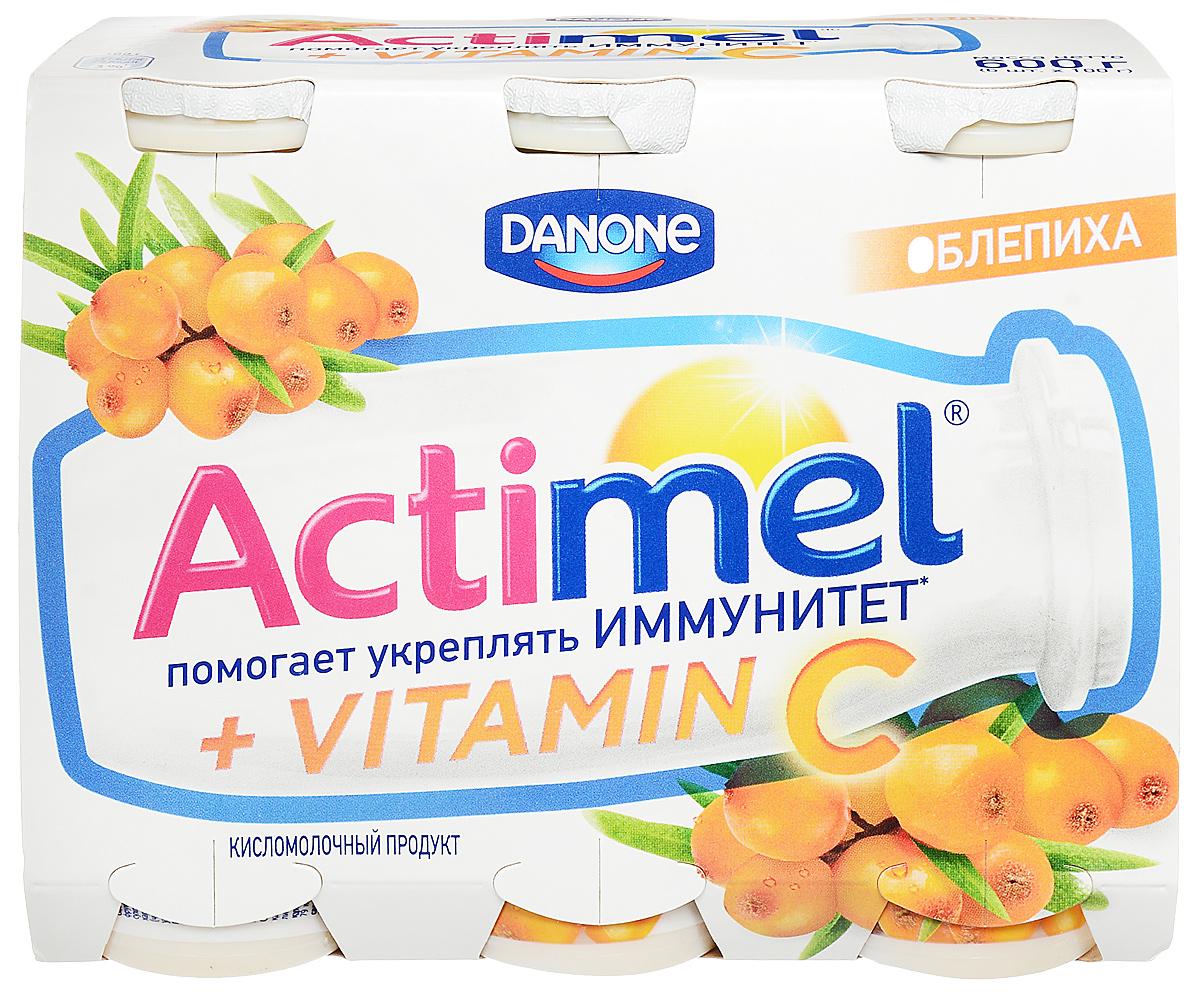 Актимель Продукт кисломолочный, Облепиха 2,5%, 6 шт по 100 г актимель продукт кисломолочный черника ежевика 2 5