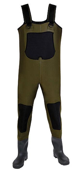 Полукомбинезон рыбацкий мужской Norfin, цвет: зеленый, черный. 81245. Размер 44