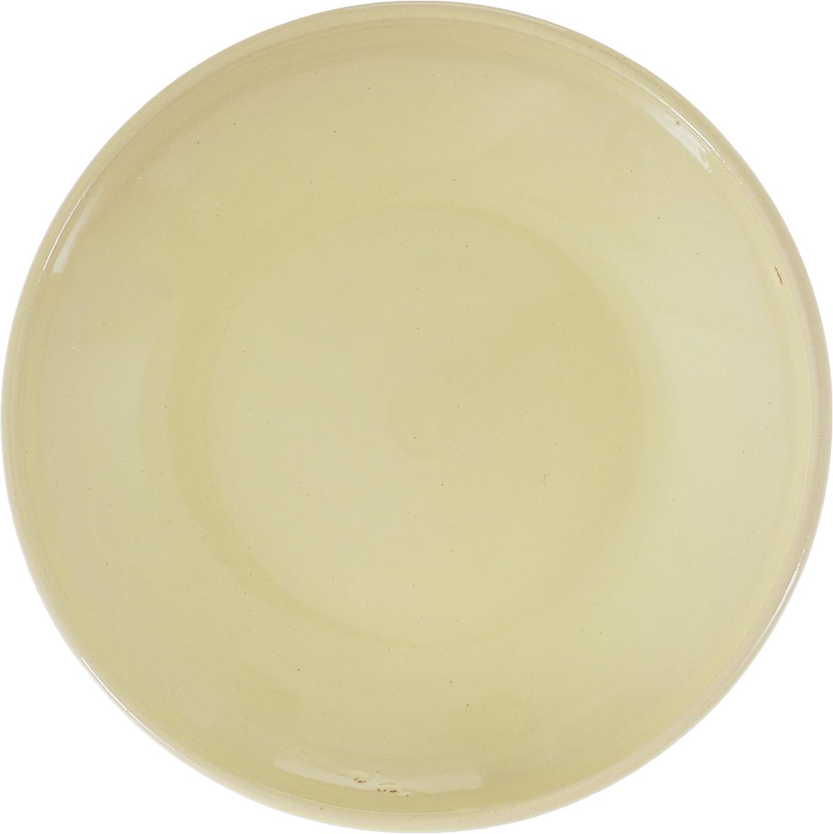 """Блюдце Борисовская керамика """"Радуга"""", цвет: песочно-желтый, диаметр 10 см"""