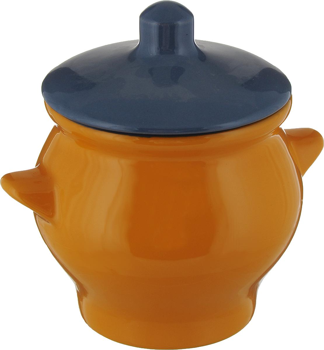 Горшочек для запекания Борисовская керамика Радуга, цвет: желтый, серо-синий, 650 мл горшочек для жаркого борисовская керамика русский мрамор