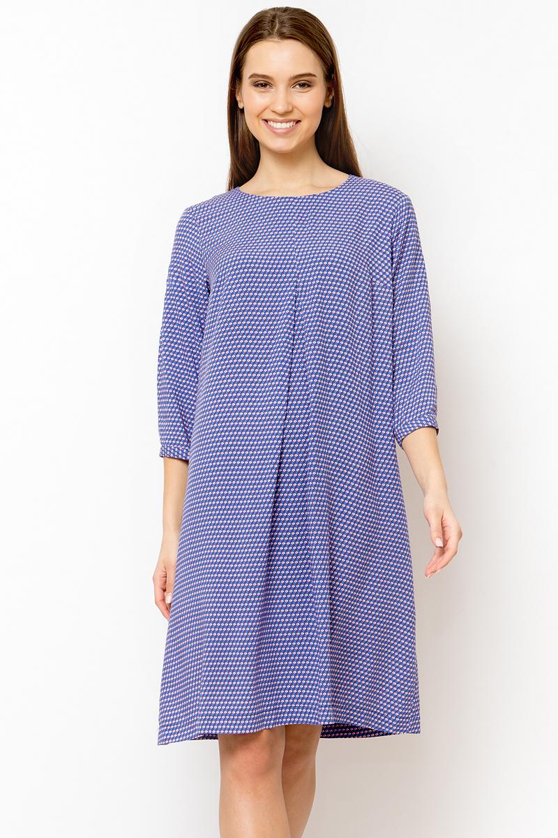 Платье Finn Flare, цвет: голубой. B18-11048_119. Размер M (46)B18-11048_119Расклешённое платье с рукавом 3/4. Платье изготовлено из мягкого материала (вискоза). Принт в виде мелкой клетке придает платью оригинальность. В офисе или в свободное время: эта платье идеально подойдет для любой ситуации.