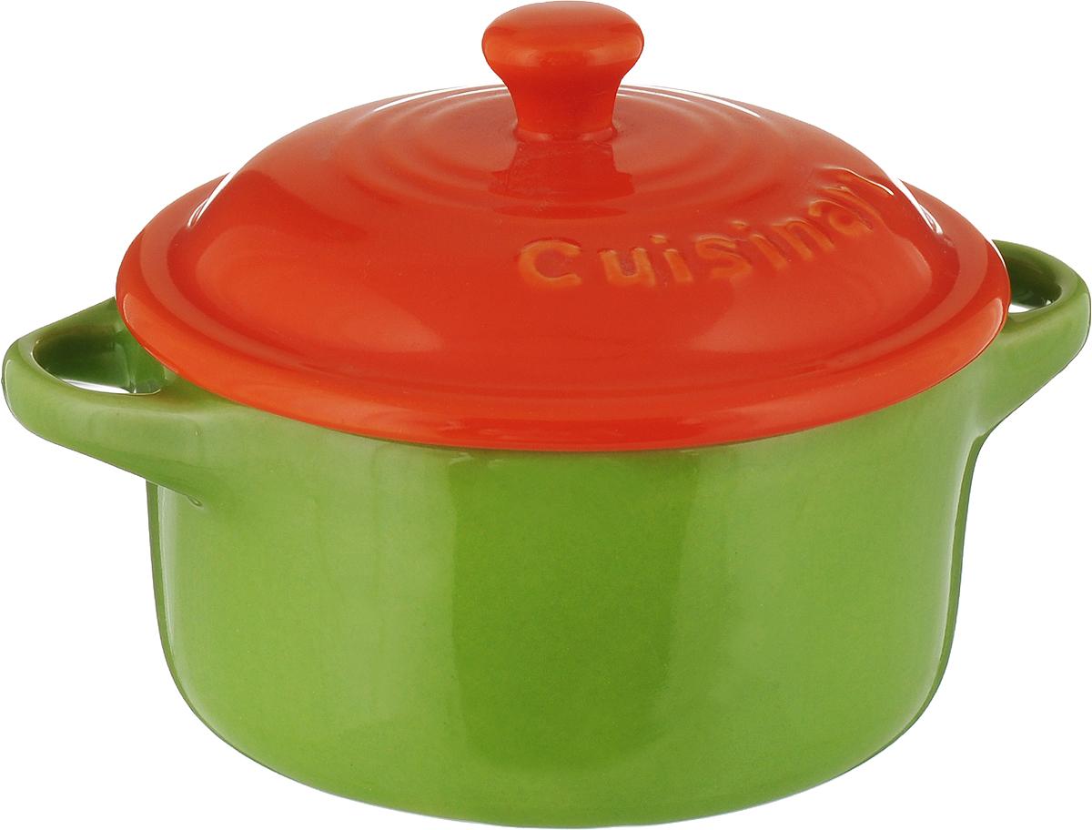 Форма для запекания Calve, круглая, с крышкой, цвет: салатовый, оранжевый, диаметр 15 см. P066 форма для запекания calve круглая цвет желтый белый 150 мл