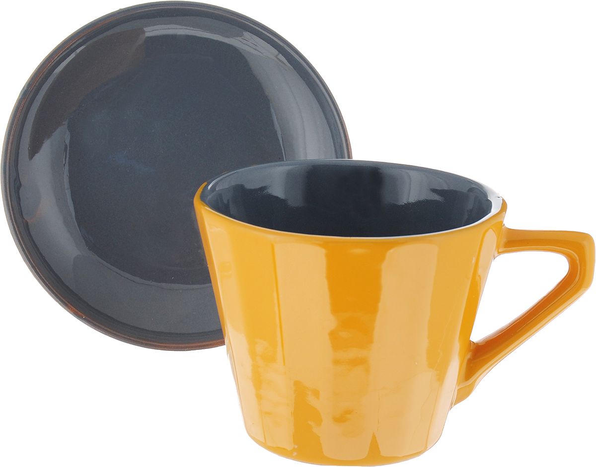 Чайная пара Борисовская керамика Ностальгия, цвет: горчичный, серый, 200 мл чашка чайная борисовская керамика пион цвет оранжевый 300 мл