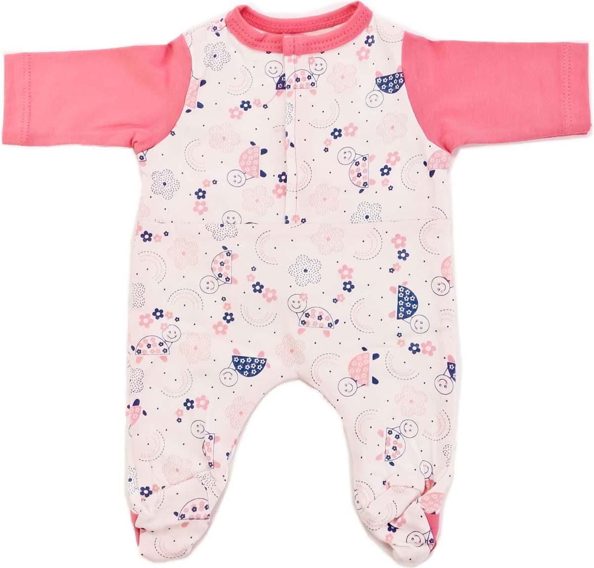 Карапуз Одежда для кукол Кобинезон с рисунком цвет розовый