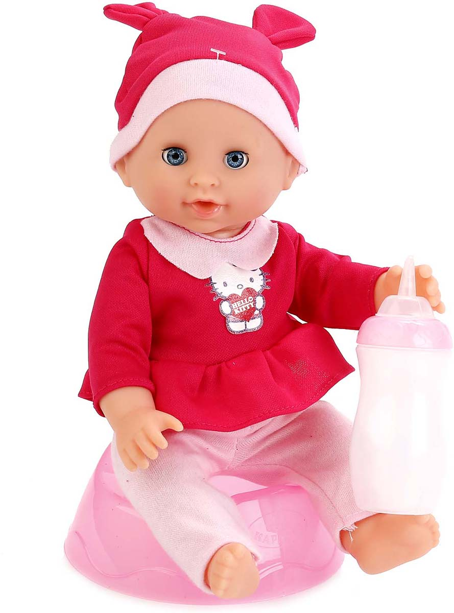 Карапуз Пупс Hello Kitty с бутылочкой цвет одежды красный подарок девочке на 7 лет