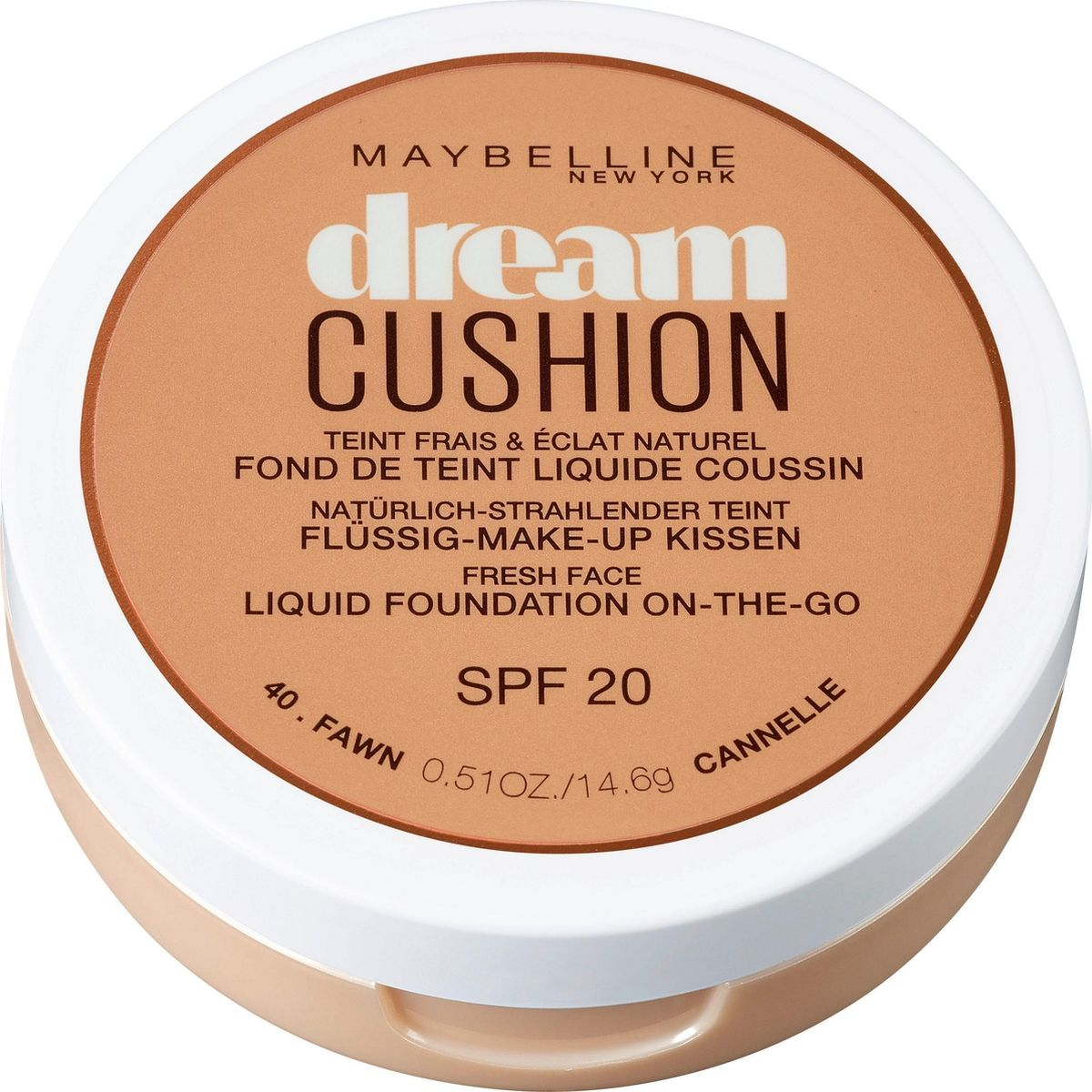 Maybelline New York Тональный крем-кушон для лица Dream Cushion, увлажняющий, оттенок 40 Fawn, SPF 20, 14,6 гB2849301Нежный тональный крем для лица Dream выполнен в актуальном компактном формате «кушон», имеет легкую текстуру с водянистыми пигментами и защиту от солнца SPF 20. Его легкое естественное покрытие оптимально подходит для дневного макияжа. Средство придает коже идеально ровный тон и мягкое натуральное сияние. Кушон имеет упругую пористую подушечку, пропитанную жидким тональным флюидом и мягкий аппликатор-спонж с абсорбирующими свойствами. Данный оттенок подходит для темного оттенка кожи с нейтральным подтоном.