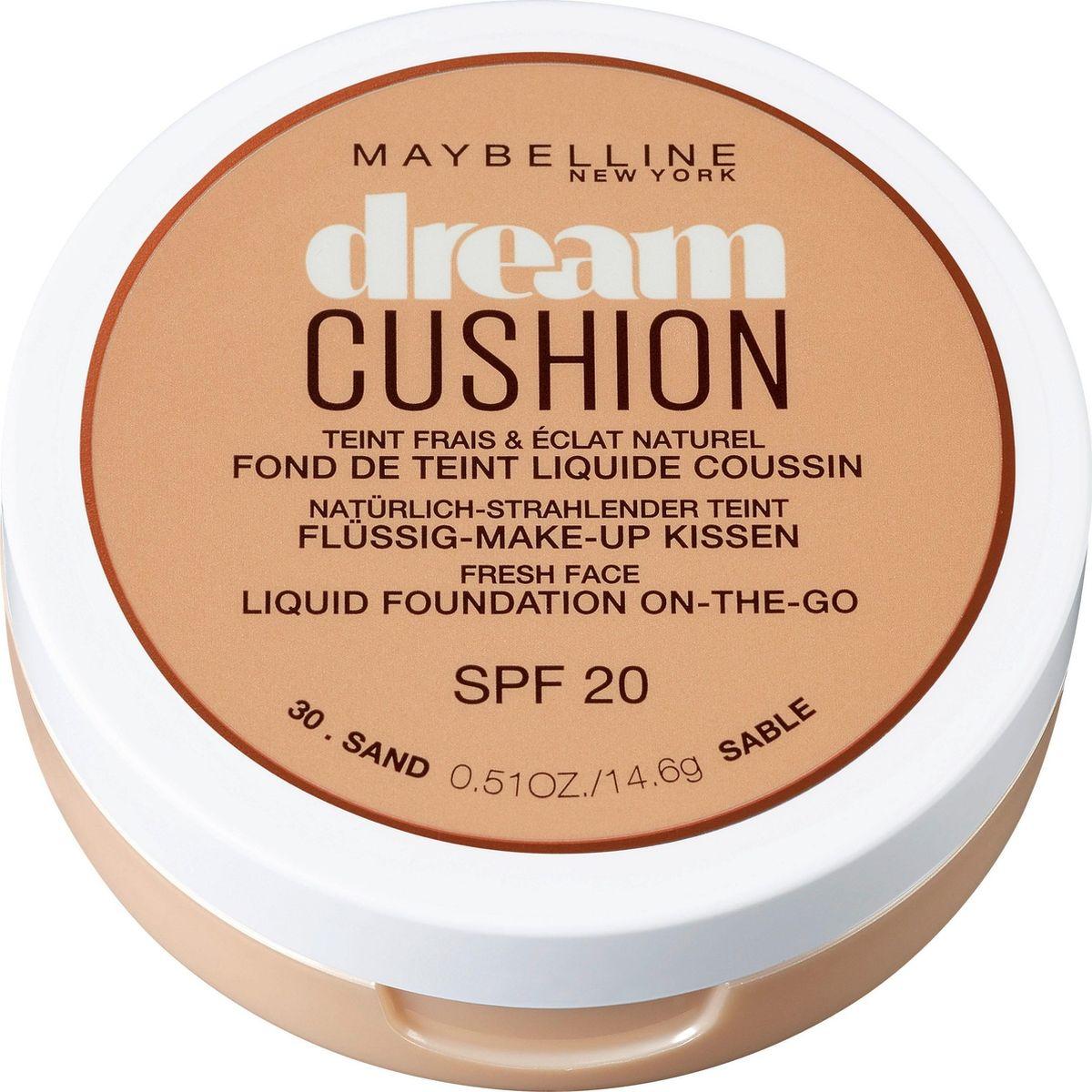 Maybelline New York Тональный крем-кушон для лица Dream Cushion, увлажняющий, оттенок 30 Sand, SPF 20, 14,6 г консилер от несовершенств affinitone оттенок 02 ванильный 2 3г maybelline new york