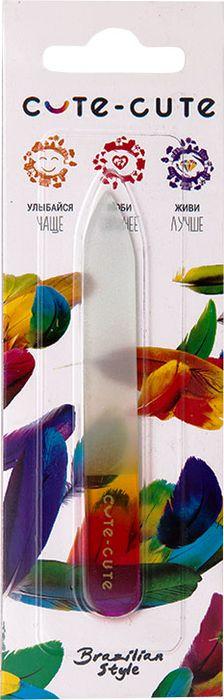 Cute-Cute Пилка стеклянная, длина 9 см049120Пилочка стеклянная маникюрная двухсторонняя цветная . Упакована в блистерную упаковку . Все компоненты , включая закаленное стекло чешского производства исключительно отличного качества. Рабочая поверхность пилочки создана методом химического травления, который не позволяет отслаиваться абразивным зернам от поверхности пилочки