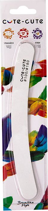 Cute-Cute Пилка маникюрная Бумеранг, цвет: белый, 100/180 kinetics пилка для натуральных ногтей 180 180 white turtle
