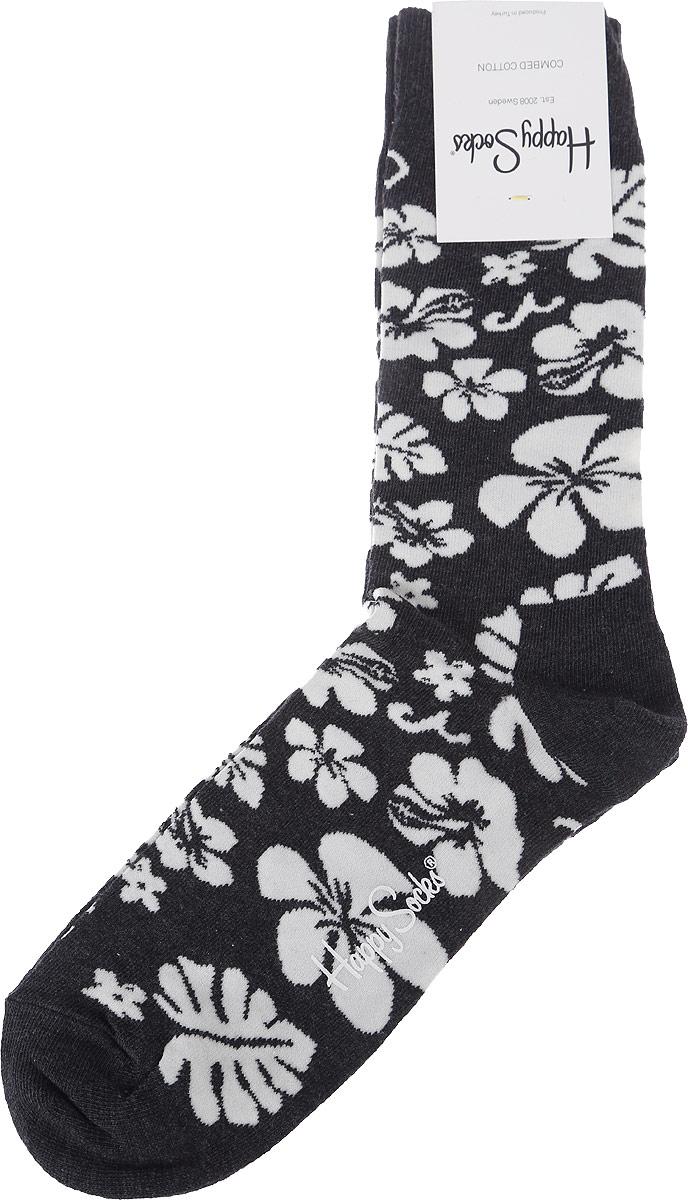 Носки Happy Socks Hawaii, цвет: темно-серый, белый. HW01_905. Размер 29 (41/46) носки happy socks dir01 9001