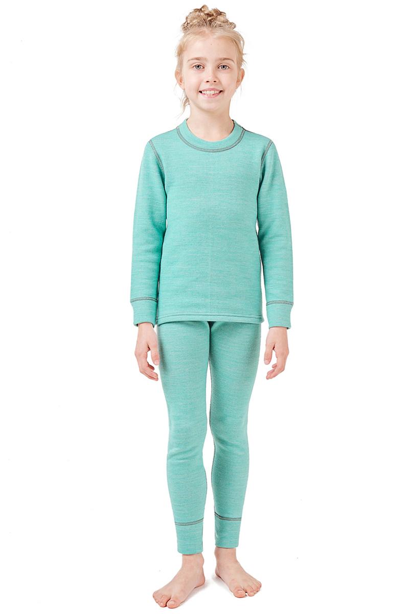 Комплект термобелья детский Montero, цвет: бирюзовый. MCLSWPK0102. Размер 116/122MCLSWPK0102Трехслойное повседневное термобелье для прохладной и умеренно холодной погоды. Комплект состоит из джемпера с длинными рукавами и брюк. Полипропилен отводит влагу от тела, оно остается сухим, хлопок во внешнем слое натуральный и гигиеничный, хорошо впитывает влагу.