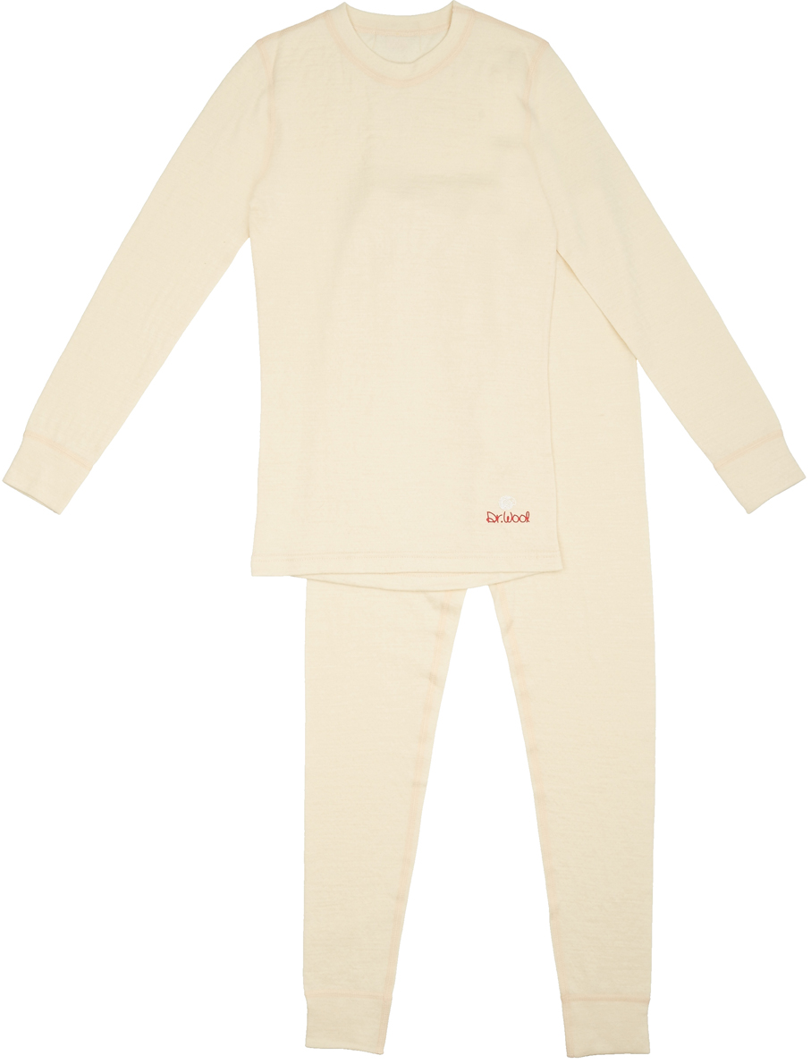 Комплект термобелья женский Dr. Wool, цвет: молочный. DWL20102. Размер 48/50DWL20102Мультисезонный однослойный комплект термобелья Dr. Wool подойдет для осени и зимы. Термобелье не сковывает движений. Его можно носить, как самостоятельный элемент одежды, так и под повседневной одеждой, под которой оно останется незамеченным. Мягкое и комфортное, белье не доставляет дискомфорта в области манжетов, резинки и швов. Натуральная шерсть австралийского мериноса, из которого изготовлено термобелье Dr. Wool, защитит не только от переохлаждения, но и от перегрева, регулирует влажность тела, появление неприятного запаха и размножение бактерий. Помимо этого, очень удобно, что белье можно стирать в стиральной машине - никакой усадки и деформации.