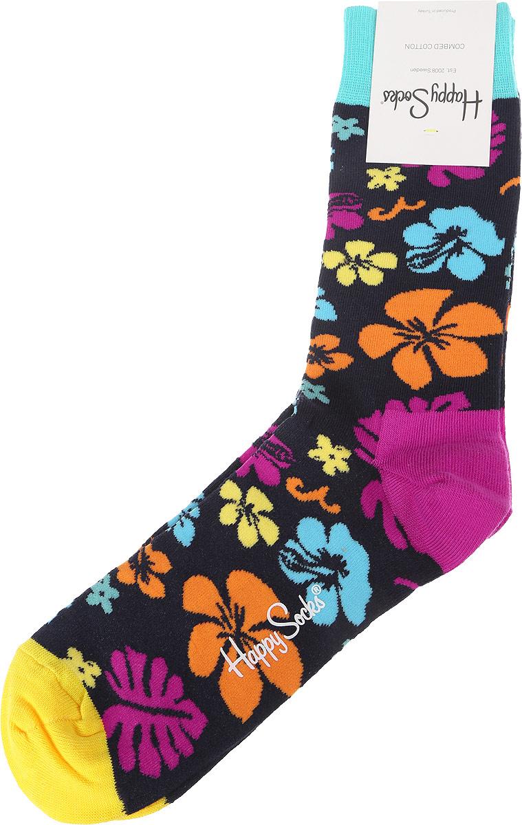 Носки Happy Socks Hawaii, цвет: черный, разноцветный. HW01_67. Размер 29 (41/46)HW01_67Носки от Happy Socks, изготовленные из высококачественного материала, дополнены принтом. Эластичная резинка плотно облегает ногу, не сдавливая ее. Усиленная пятка и мысок обеспечивают надежность и долговечность.