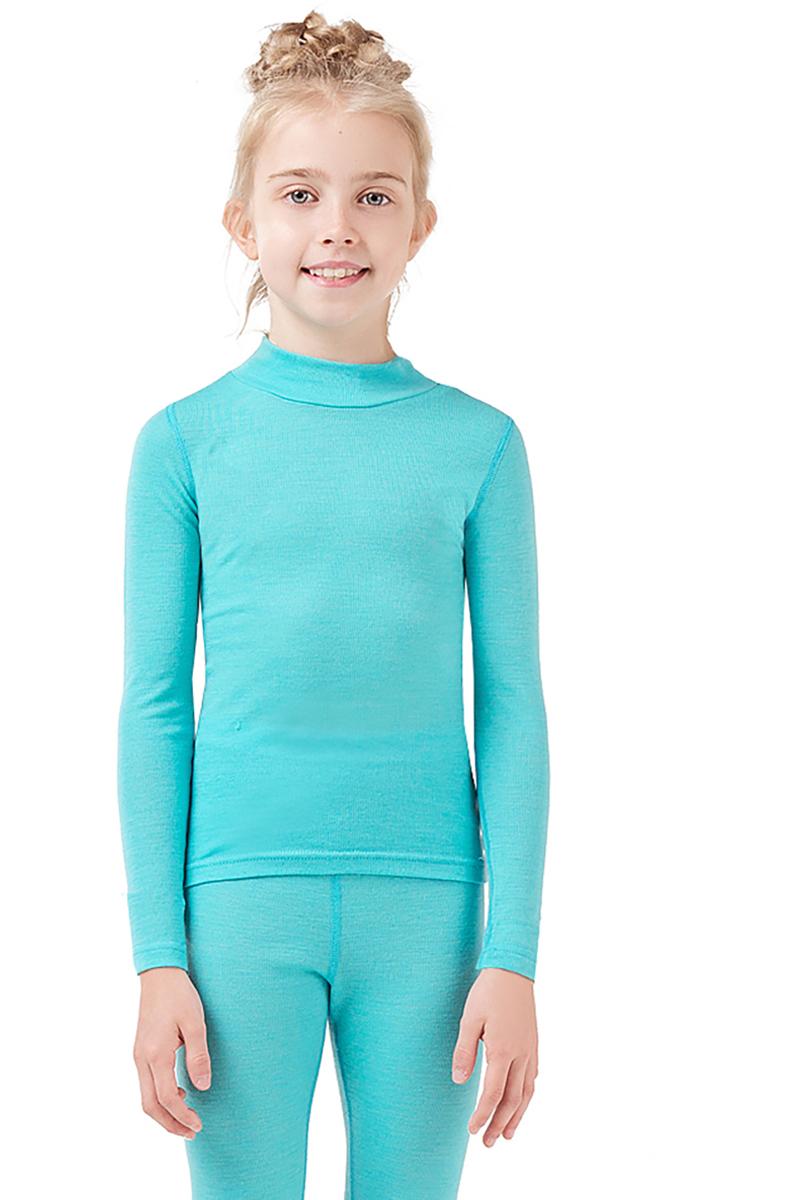 Термобелье водолазка для девочки Dr. Wool, цвет: голубой. DWKL208. Размер 140/146DWKL208Однослойная водолазка из шерсти мериноса защитит от охлаждения и перегрева и станет отличным дополнением к гардеробу ребенка не только в холодное время года. Ее можно использовать самостоятельно или как первый слой одежды. Водолазку легко сочетать с повседневной одеждой или школьной формой. Удобный воротник-стойка защищает шею и не создает лишнего объема. Кроме того, шерсть мериноса содержит природный ланолин, который препятствует размножению бактерий и исключает неприятные запахи. Благодаря уникальной обработке Total Easy Care, изделие можно стирать в стиральной машине.