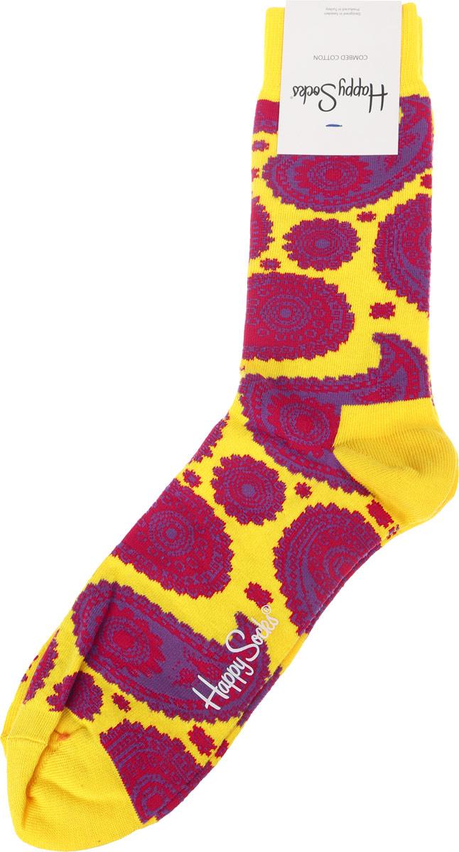 Носки Happy Socks Paisley, цвет: желтый, лиловый. PA01_205. Размер 29 (41/46)PA01_205Носки от Happy Socks, изготовленные из высококачественного материала, дополнены принтом. Эластичная резинка плотно облегает ногу, не сдавливая ее. Усиленная пятка и мысок обеспечивают надежность и долговечность.
