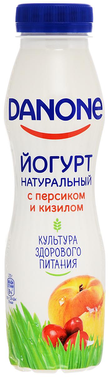 Danone Йогурт питьевой Персик кизил 2,1%, 270 г ударница мармелад со вкусом персика 325 г