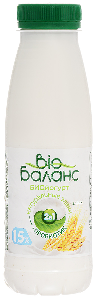 Био-Баланс Биойогурт Злаки 1,5%, 330 г био баланс биойогурт густой обогащенный черника голубика 2 8% 125 г