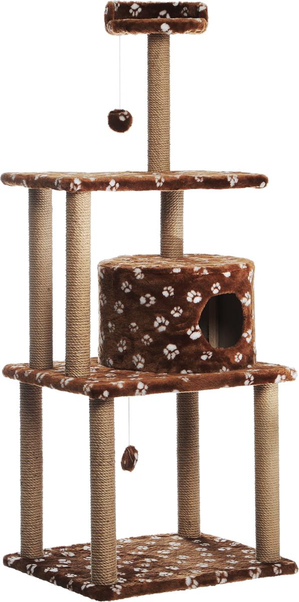 Домик-когтеточка Меридиан Лапки, круглый, с двумя игрушками, цвет: коричневый, белый, 65 х 50 х 153 см лежанка для животных добаз цвет светло розовый серый 65 х 65 х 20 см
