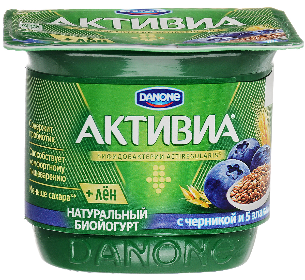 Активиа Биойогурт густой Черника-5 Злаков-Льняное семя 2,9%, 150 г активиа биопродукт творожно йогуртный малина 4 2
