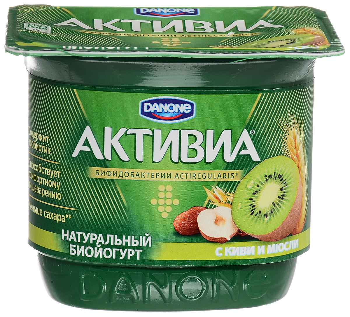 Активиа Биойогурт густой Киви-мюсли 3%, 150 г danone йогурт питьевой 2 5% 850 г