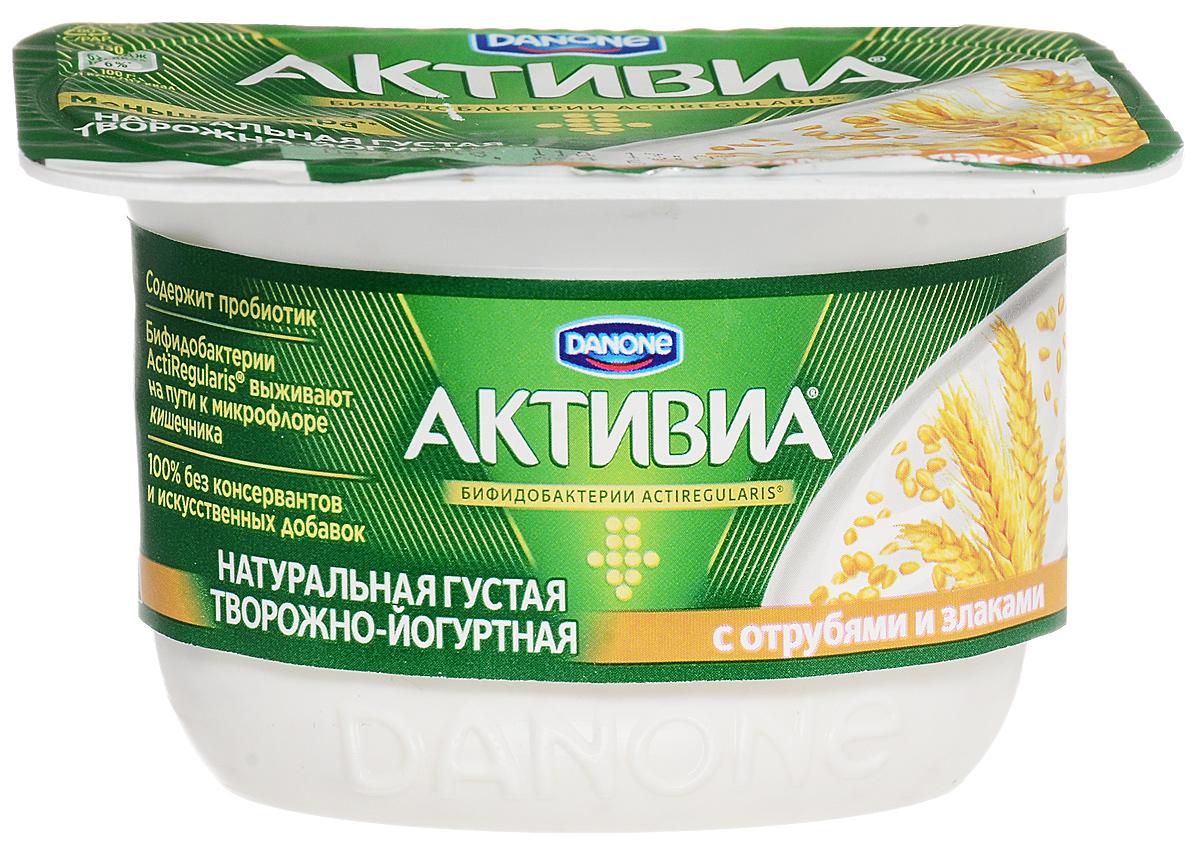 Активиа Биопродукт творожно-йогуртный Отруби злаки 4,5%, 130 г активиа биопродукт творожно йогуртный малина 4 2