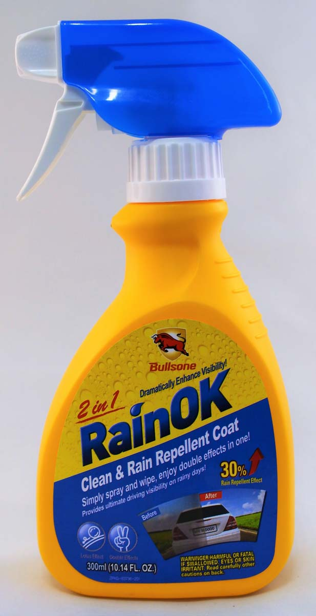 "Очиститель стекол и зеркал Bullsone ""Clean & Rain Repellent 2 in1"", водоотталкивающий, 300 мл"