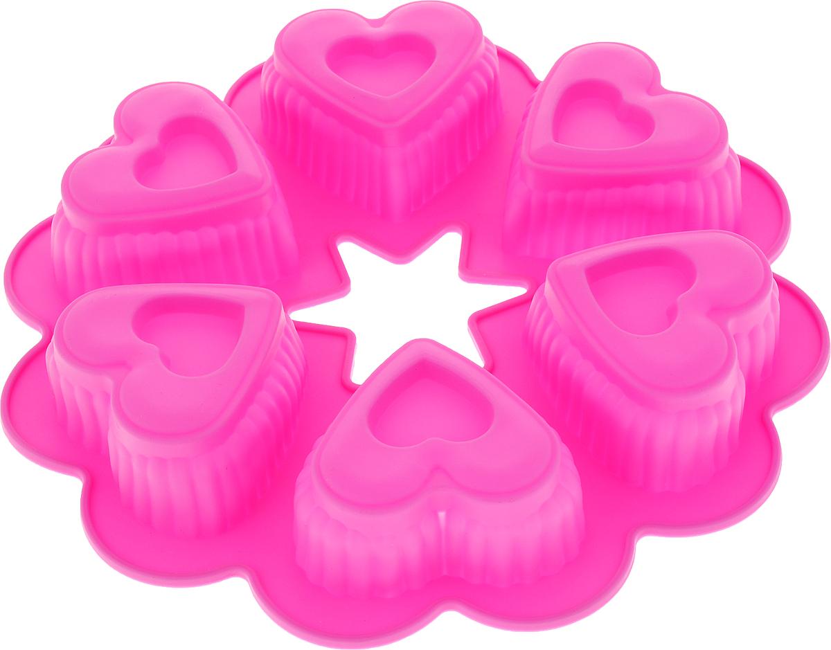 Форма для выпечки Доляна Двойные сердечки, цвет: розовый, 25 х 4,5 см, 6 ячеек