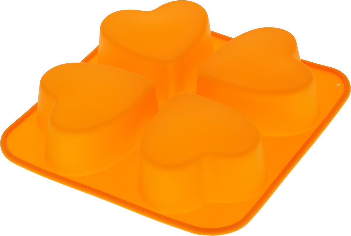 Форма для выпечки Доляна Сердца, 4 ячейки, цвет: оранжевый, 16 х 16 х 3 см