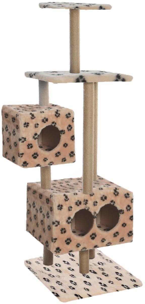 Домик-когтеточка Меридиан Квадратный, 3-ярусный, с игрушкой, цвет: бежевый, черный, 65 х 51 х 173 см домик когтеточка меридиан квадратный 2 ярусный с игрушкой цвет белый черный бежевый 50 х 36 х 75 см