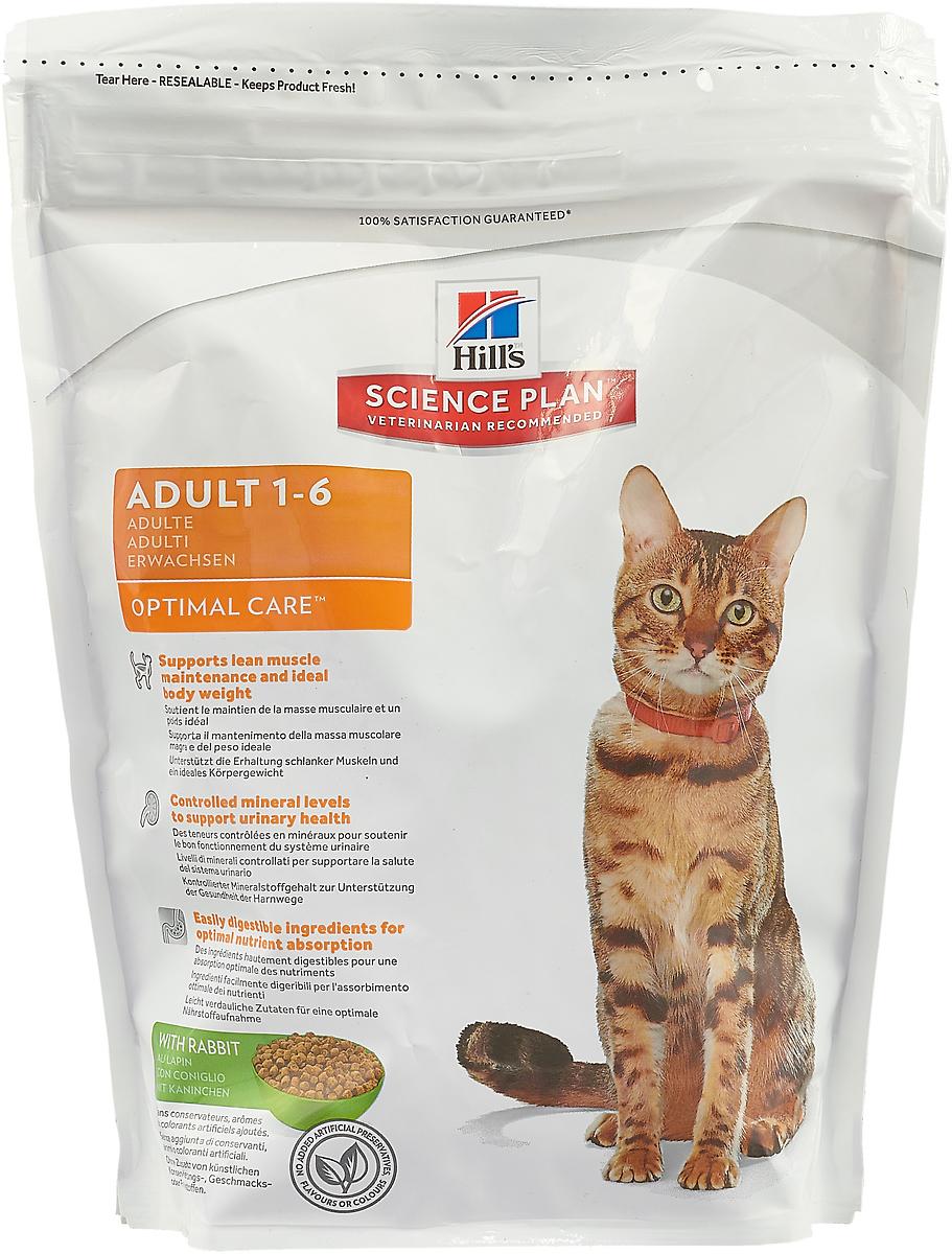 Корм сухой Hill's Adult Optimal Care, для кошек в возрасте от 1 до 6 лет, с кроликом, 400 г пудовъ мука ржаная обдирная 1 кг