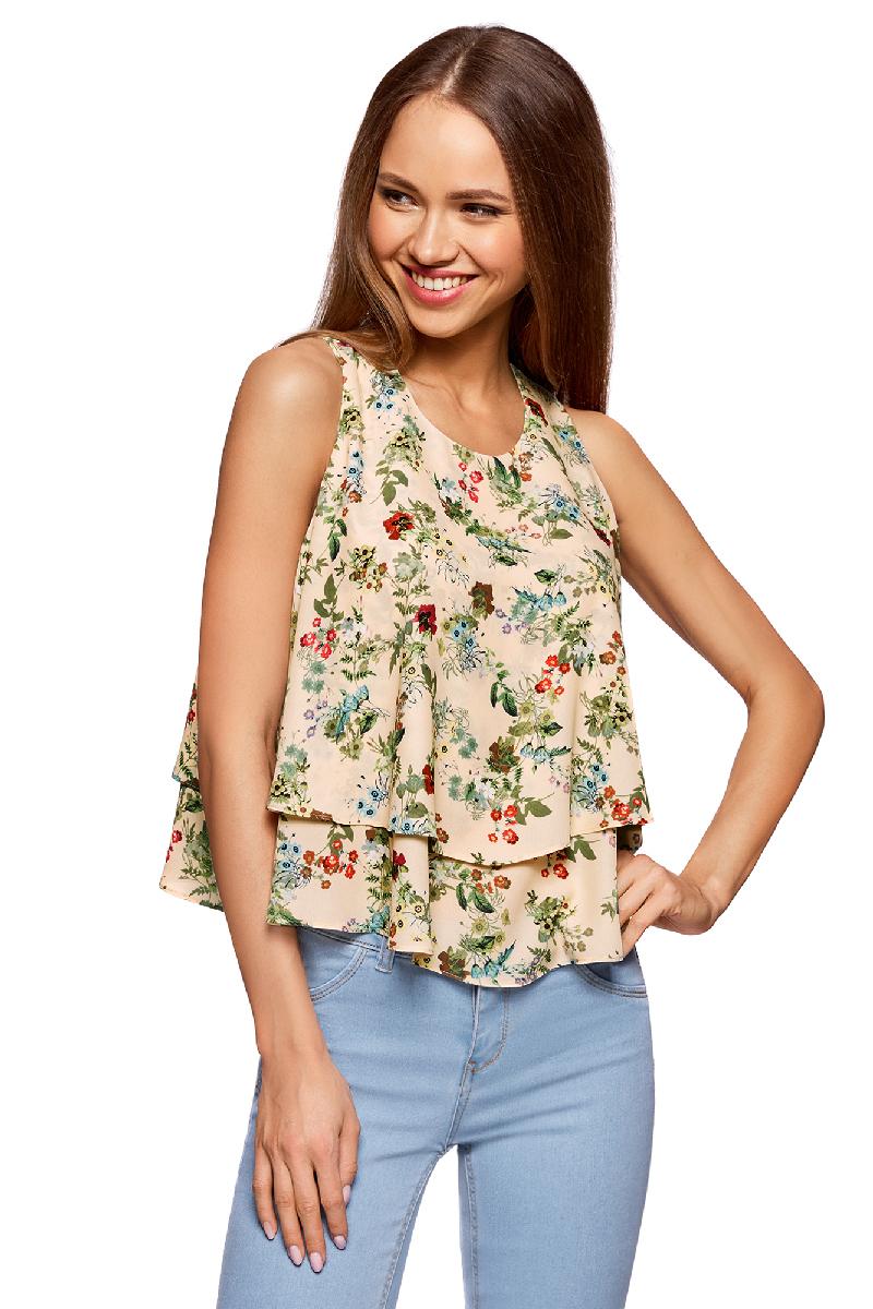 Блузка женская oodji Ultra, цвет: бежевый, красный. 11411162/46796/3345F. Размер 44-170 (50-170) блузка klingel цвет красный белый