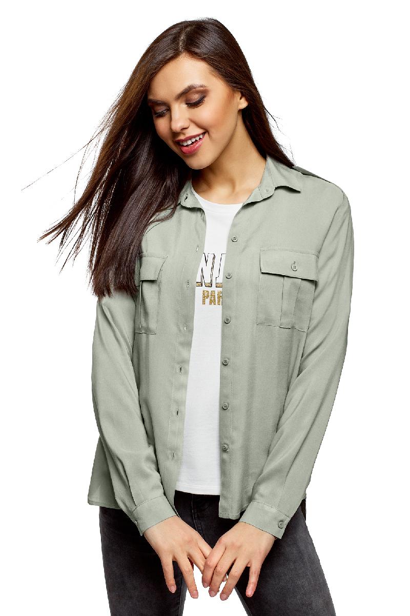 Блузка женская oodji Ultra, цвет: светло-зеленый. 11411127B/26346/6000N. Размер 42 (48-170) блузка женская oodji ultra цвет серо зеленый 11411127b 26346 6c00n размер 42 48 170