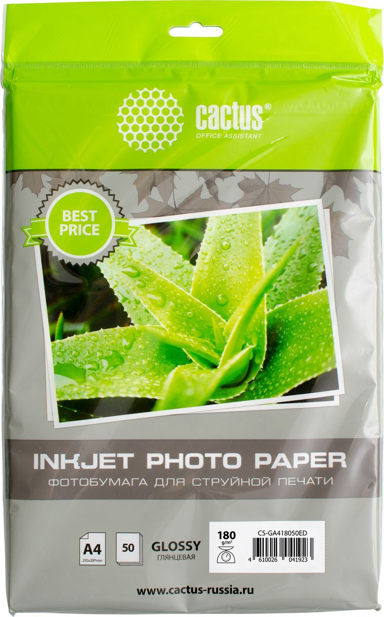 Cactus CS-GA418050ED A4/180г/м2 глянцевая фотобумага для струйной печати (50 листов) фотобумага cactus cs hga326020