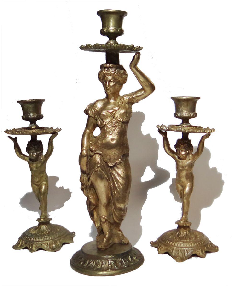 Композиция из трех подсвечников Богиня с путти. Бронза. XX век xx век ретропанорама встреча друзей