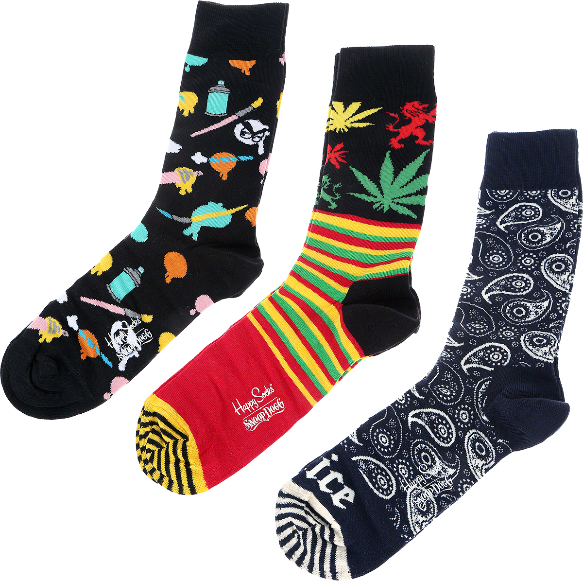 Носки мужские Happy Socks Snoop Dog, цвет: разноцветный, 4 пары. XSDG08_65. Размер 29 (41/46) носки minecraft socks 3 pack green зеленые s 3 пары 11750