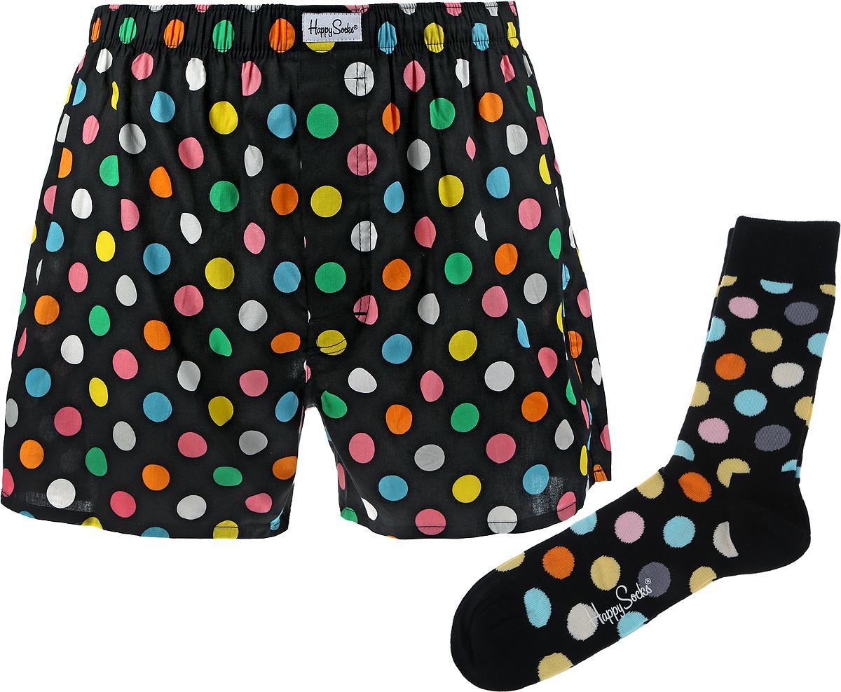 Комплект мужской Happy Socks Big Dot: носки, трусы, цвет: черный, разноцветный. XBD60_99. Размер XL (50) dot