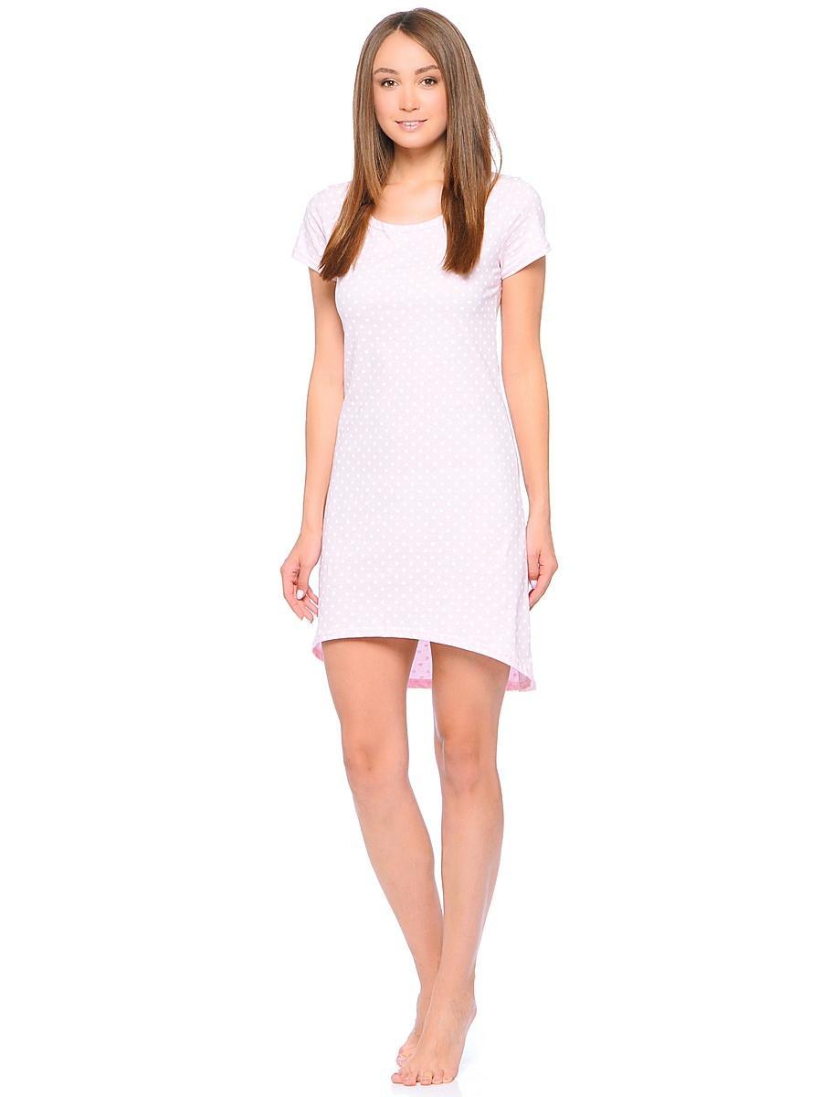 Рубашка ночная женская Letto, цвет: розовый. TFnm006. Размер 50TFnm006Ночная рубашка от Letto нежной расцветки, выполненная из 100% хлопка. Модель свободного кроя с короткими рукавами и круглым вырезом горловины.