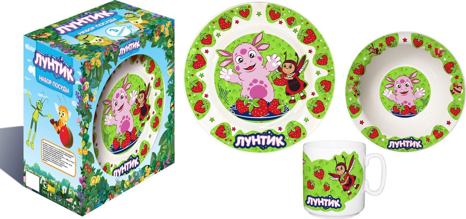 Лунтик Набор детской посуды цвет зеленый 3 предмета (фарфор)