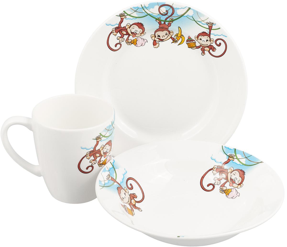Кубаньфарфор Набор посуды для кормления Обезьянки 3 предмета вид 2 набор посуды travola с керамическим покрытием 3 предмета
