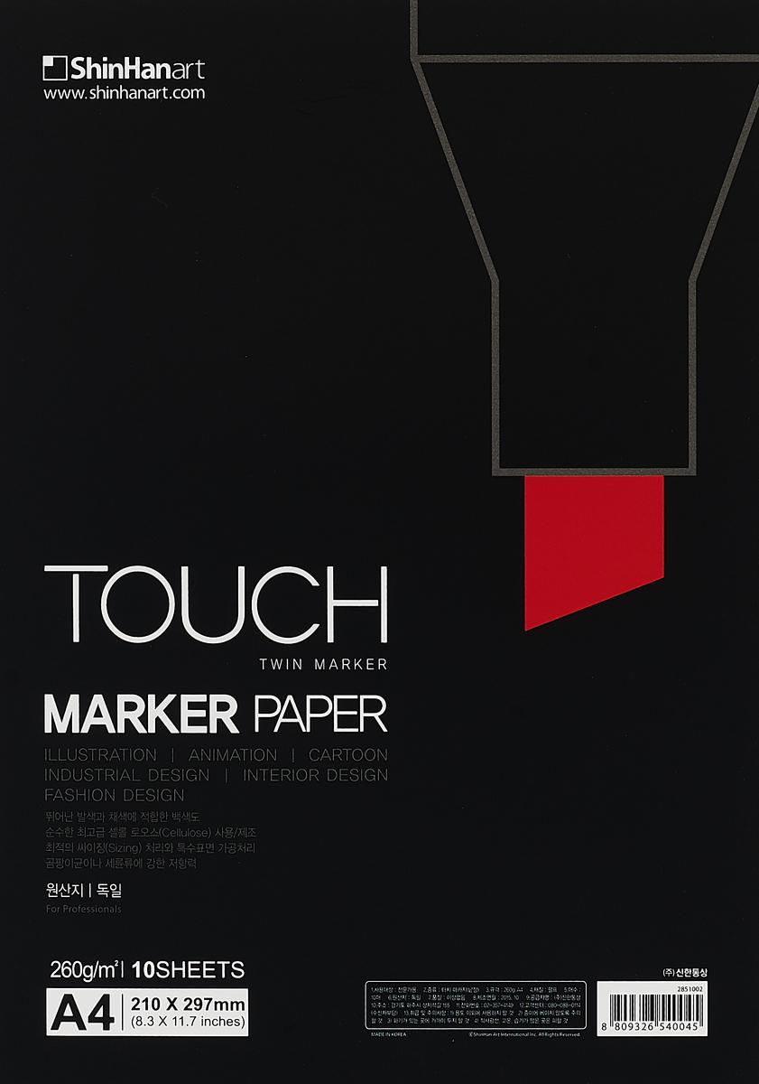 Touch Бумага для рисования Marker Pad A4 10 лSH-2851002Бумага для эскизов TOUCH MARKER PAPER. Разработана специально для маркеров Touch, однако может быть использована и для любых других маркеров и ручек. Подходит для иллюстрации, дизайна, скетчинга, комиксов и мультипликации. Плотность бумаги 260 г/кв.м. 10 листов. Размер: А4 (210 x 297 мм).