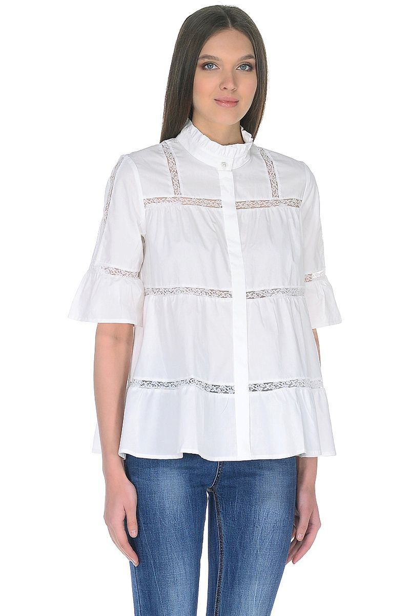Купить Блузка женская Baon, цвет: белый. B178032_White. Размер M (46)