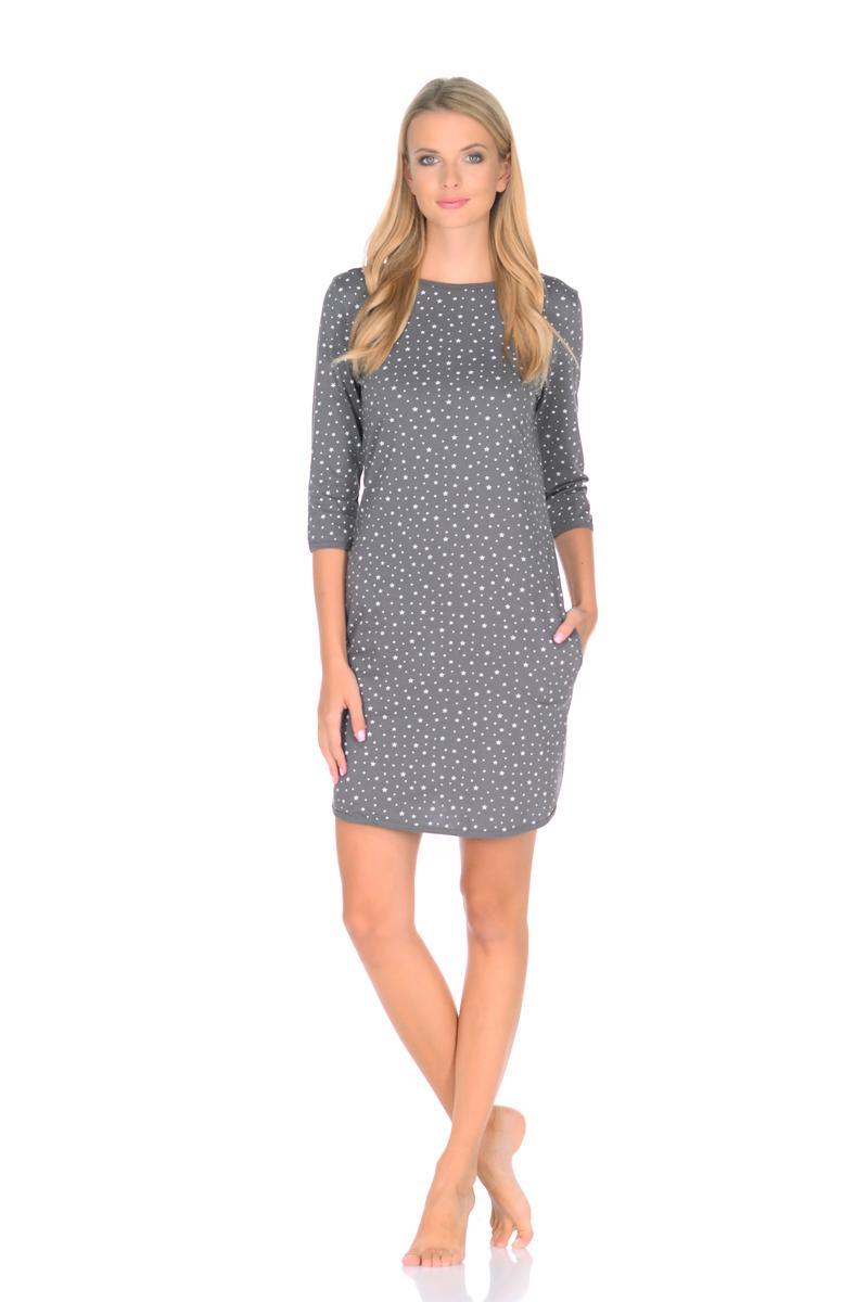 Платье домашнее Letto, цвет: серый. TFdm014. Размер 52 приталенное платье с рукавом 3 4 eva davidova приталенное платье с рукавом 3 4
