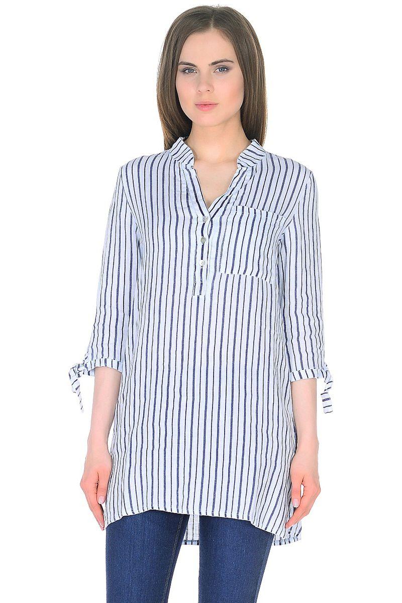 Блузка женская Baon, цвет: белый, синий. B178043_White Striped. Размер XL (50) блузка женская baon цвет желтый b117007 размер xl 50