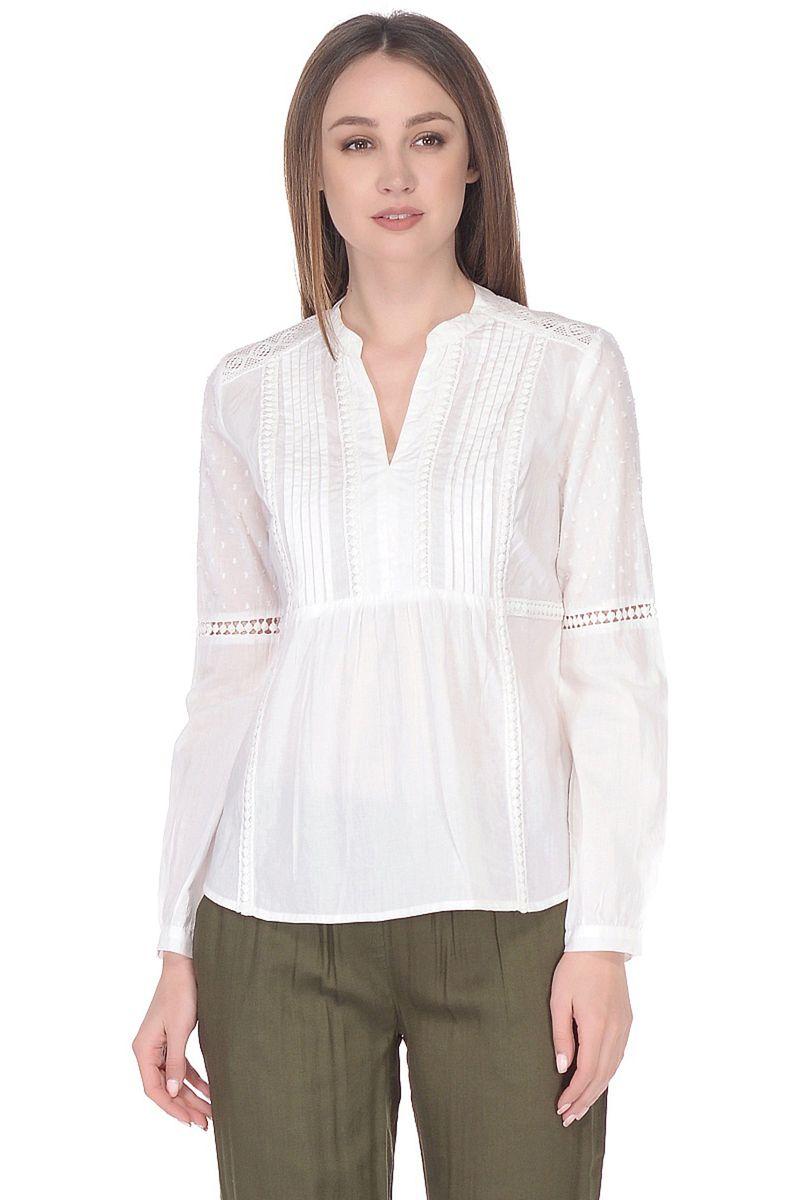 Блузка женская Baon, цвет: белый. B178064_White. Размер XXL (52) блузка с вышивкой в этническом стиле