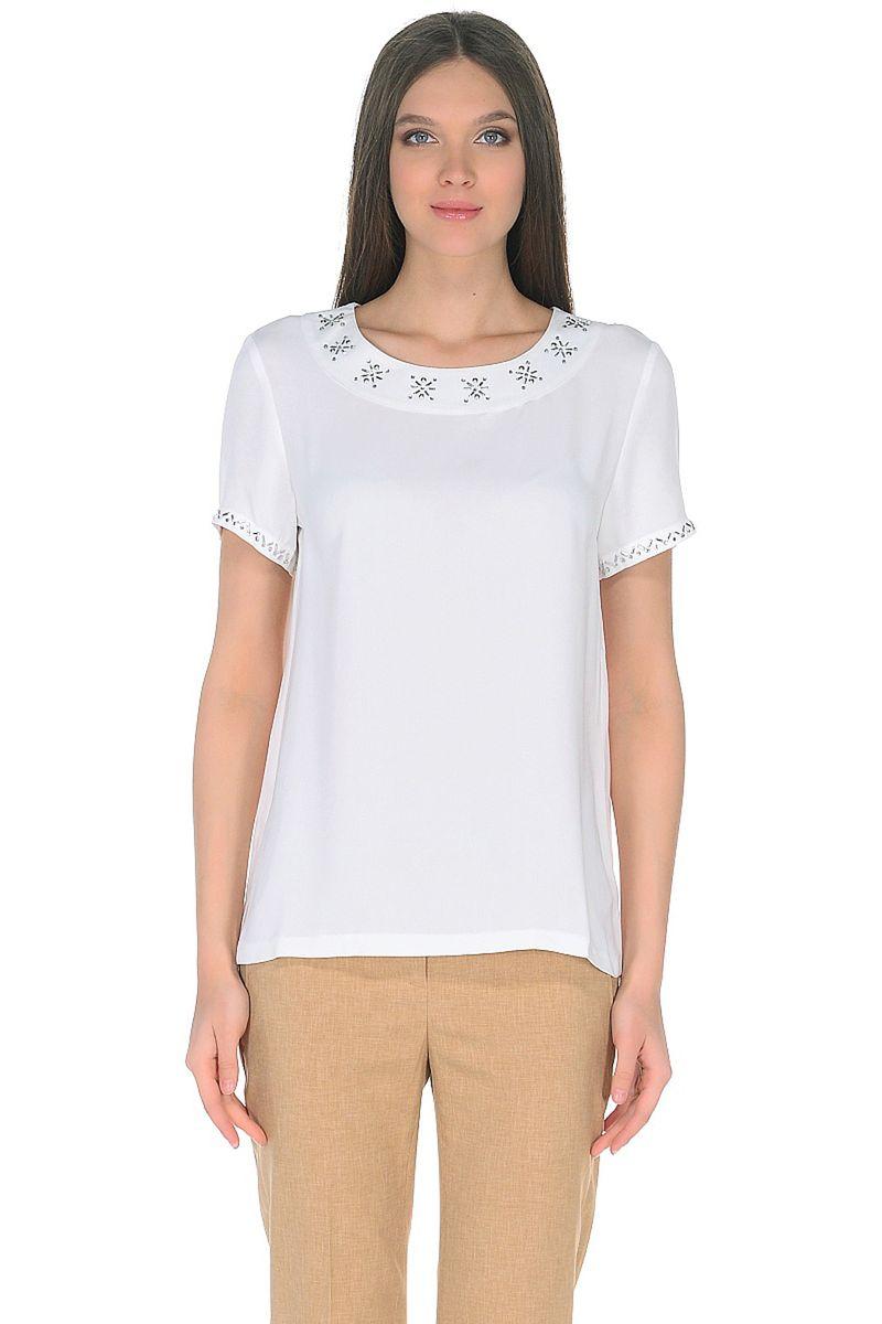 Блузка женская Baon, цвет: белый. B198020_Milk. Размер XL (50) кардиган женский baon цвет черный b147505 black размер xl 50