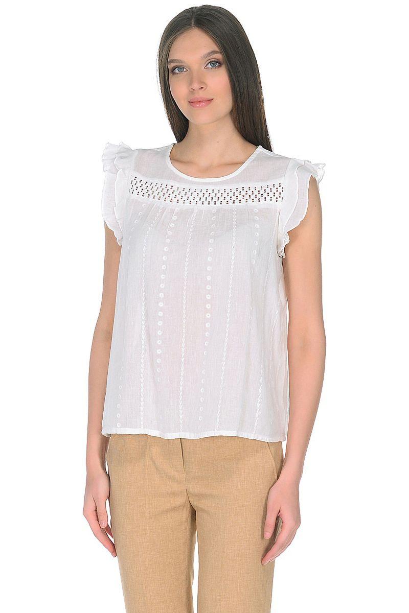 Купить Блузка женская Baon, цвет: белый. B198035_White. Размер M (46)