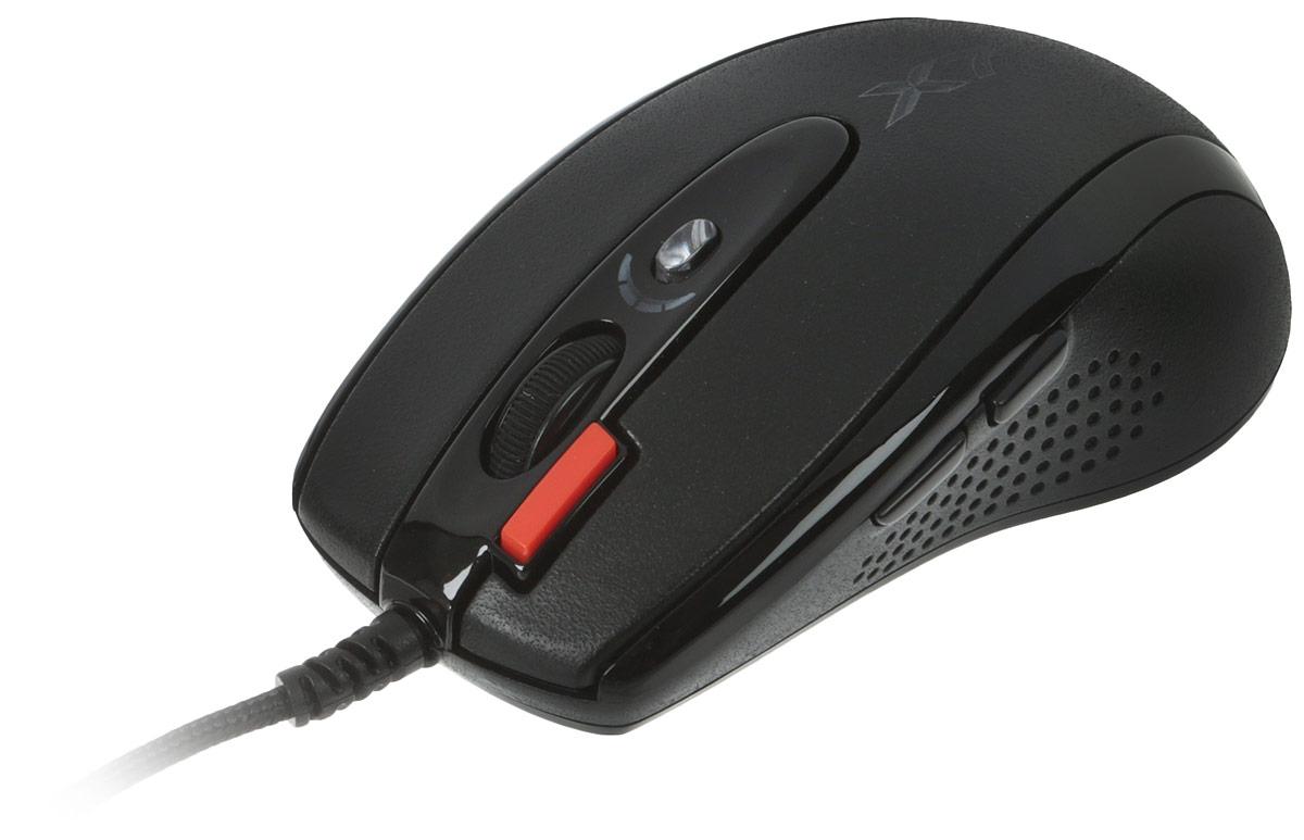 A4Tech X-710BK, Black мышьX-710BKВ оптической мыши A4Tech Х-710BK используется мощный и чувствительный сенсор Agilent. Она исключительно плавно движется при любых поворотах, реагируя на малейшие движения быстро и четко. Благодаря удобной и эргономичной форме, мышь легко и надежно ложится в руку. В процессе игры не нужно двигать манипулятор всей кистью, с Х7 работают только пальцы. По бокам сделаны прорезиненные вставки, что исключает выскальзывание мыши в самой напряженной игровой ситуации. Симметричный дизайн рассчитан как на правшей, так и на левшей.Шесть кнопок мыши программируются. Рядом с колесом прокрутки располагается уникальная кнопка Тройной клик, позволяющая сделать сразу три выстрела одним нажатием. Кнопка смены разрешения позволяет менять скорость курсора мыши без установки дополнительных драйверов. При смене режима колесо прокрутки подсвечивается разными цветами. Максимальное разрешение - 2000 dpi. При возвращении к повседневной работе за компьютером можно понизить его до 400 dpi. Независимо от игровой активности и частоты использования мыши, кнопки модели прослужат вам очень долго. Производитель, японская компания OMRON, гарантирует до 8 000 000 бесперебойных кликов.Новые игровые мыши A4Tech имеют встроенную память 16 KБ. Это значит, что теперь у вас есть уникальная возможность запрограммировать мышь выполнять любые игровые действия одним кликом! Создавайте свои скрипты и интегрируйте их во встроенную память вашей мыши. Играйте на любых компьютерах, сохранив ваши уникальные установки в памяти мыши. Для этого просто воспользуйтесь удобным и наглядным редактором скриптов Oscar, который вы найдете на прилагающемся диске.Используйте мышь вместо клавиатуры. Каждая кнопка мыши теперь может быть настроена так, чтобы воспроизводить любые команды клавиатуры, в любых сочетаниях клавиш. Вы сможете одним движением пальца купить все оружие или поставить задачу группе.Стреляйте длинными и короткими очередями. Выберите кнопку мыши и установите на нее количество выстр